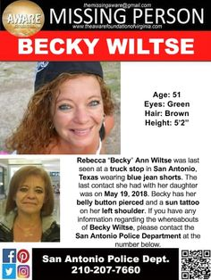 Find Missing Rebecca Ann Wiltse!She is better known as BeckyShe was last seen at a truck stop. Amber Alert, Missing Persons, Cold Case, Stop It, Looking For Someone, True Crime, Green Hair, Pretty Cool, Helping People