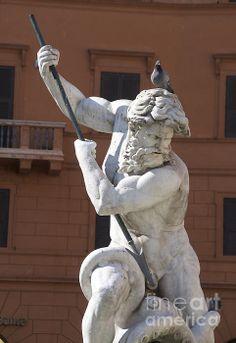 Fontana Del Nettuno. Neptune Fountain. Piazza Navona. Rome