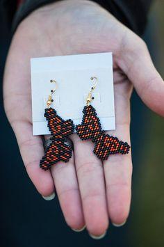 Beaded Butterfly Seed Bead Earrings. Brick Stitch Monarch Butterfly.