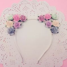 Pastel Mix Rose Kitty Cat Ears Headband