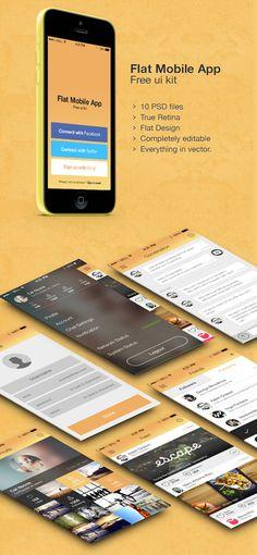 Flat Mobile App - Free UI kit PSD