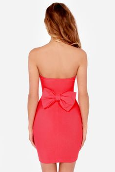 Anything Bows Strapless Coral Red Dress at LuLus.com!