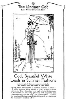 "Ad for summer fashions, published in the Plain Dealer newspaper (Cleveland, Ohio), 25 May 1924. Read more on the GenealogyBank blog: ""Vintage Fashion: Our Ancestors' Summer Apparel."" http://blog.genealogybank.com/vintage-fashion-our-ancestors-summer-apparel.html"