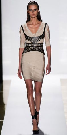 HERVE LEGER BY MAX AZRIA: Cream bandage multi-pointelle/crochet dress, black leather laser-cut harness belt and black leather ankle-strap pump