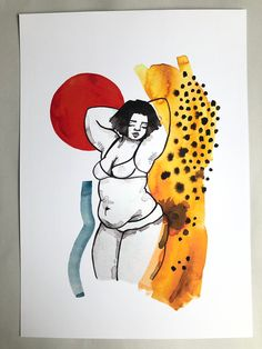 An print of my original illustration featuring a body positive babe and abstract details Body Image Art, Plus Size Art, Arte Sketchbook, Illustration Art, Illustrations, Feminist Art, Sketch Inspiration, Grafik Design, Art Drawings Sketches