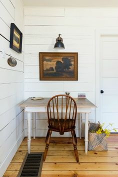 """""""I love a good wheelback chair and this one looks perfect in this white-walled cottage with vintage art."""" - Beth #LocalMilk"""