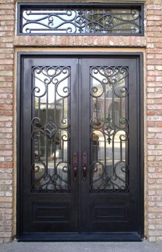 ID Double Iron Door with Transom & Kickplate Iron Gates, Iron Doors, Iron Front Door, Security Gates, Canyon Lake, Iron Furniture, Double Doors, Entry Doors, Door Design