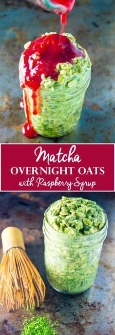 Matcha Overnight Oats with Raspberry Syrup