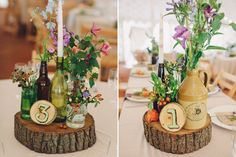 Natural rustic table centre pieces - A Lusan Mandongus gown for a wedding at Wise Wedding Venue with a bright colour theme and rustic elements and photography by LM Photography.