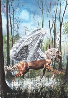 Pegasus - Puddle by In-The-Distance on DeviantArt Weird Creatures, Fantasy Creatures, Mythical Creatures, Unicorn Fantasy, Unicorn Art, Pegasus, Fantasy World, Fantasy Art, Winged Horse