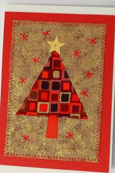 Klimt Tree Christmas Card- red gold star
