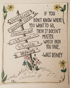 PRINT Disney Quote, Deco Art Ink Illustration, Alice In Wonderland, Middle Earth, Neverland, Narnia, Whoville and Hogwarts Sign