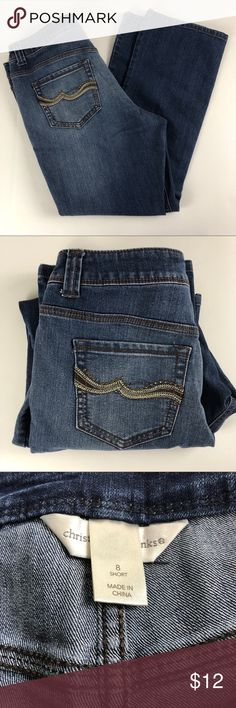 "Christopher and banks size 8 short jeans Pre-owned condition. 17"" waist, inseam 28"" rise 9.5"" cuff 8.5"" approximate measurements. Smoke free/pet Friendly home. Make sure to check out my other listings, thanks for looking!   j66 Christopher & Banks Jeans Boot Cut"