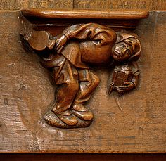 Diest, Vlaams-Brabant, St.-Sulpitiuskerk, stalls, misericords, sayings (groenling) Tags: wood belgium wind belgi saying carving fart be lantern bellows brabant stalls hout woodcarving flanders lantaarn vlaanderen misericord diest vlaamsbrabant houtsnijwerk koorbanken balg spreekwoord gezegde windje zitterke stsulpitiuskerk