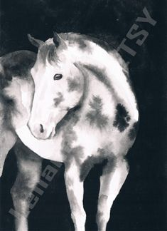 Appaloosa horse - Animal black ink art print by LelianaShop on Etsy Watercolor Paper, Watercolor Paintings, Original Paintings, Black Ink Art, Star Gift, Running Horses, Appaloosa Horses, My Works, One Pic