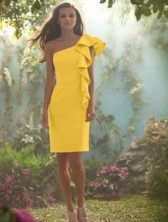 @Kate Ham, canary yellow and one shoulder, everything you hate, but I love it!