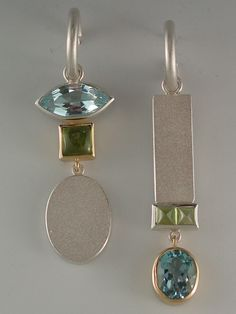 earrings - Sterling silver, 18kt yellow gold, blue topaz by Janis Kerman Design