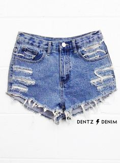 "Use coupon code ""pinterest"" Plus Size High Waisted Denim Shorts - Moderate Shred by DentzDenim"