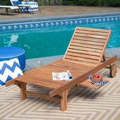 Coral Coast Bellora Acacia Chaise Lounger with Pullout Table - Outdoor Chaise Lounges at Hayneedle