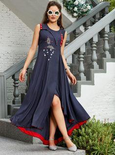 d5397b9996d Buy Mahati Blue Solid High Low Kurti online. Kurti Neck DesignsNeckline  DesignsTunic DesignsCollar Kurti DesignStylish Kurtis DesignDresses ...