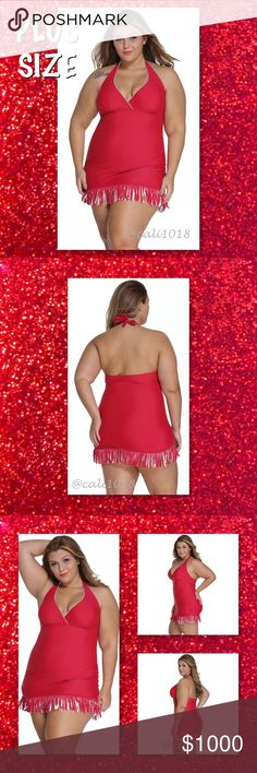 Plus Size Red Skirted One PC Bathing Suit 20-22 On your coastal vacation, you're beach-ready in a snap thanks to this adorable fringed swim dress! Chic bicolor fringe sways from the hemline of this softly shirred halter swim dress designed with a surplice halter top neckline and a power-mesh tummy-control panel that flatters your figure.   This item is new in the original packaging. Size: Tag Size 6X (Fits US 20-22) Color: Red Style: One piece Fringe Swim Dress Glam Squad 2 You Swim One…
