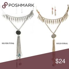 """💥SALE💥Spiked Chain Necklace & Earring Set Spikes give an edge to this boho tassel layered necklace and matching spike beaded fish hooks.  Apprx-14""""length    Silver/Turq(1), Gold/Coral(1) Classic Paper Doll Jewelry Necklaces"""