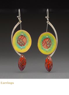 """Lauren Pollaro Jewelry, """"My work is a fusion of many interests, materials and techniques. The compositions are abstract but may suggest something familiar such as a landscape or architecture. My eclectic selection of materials includes precious metal, rusty metal, enamels, paints, papers, fabrics, wood, wax, plaster, beads and collections of found objects."""""""