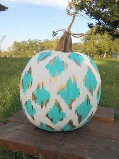 Blue and metallic gold Ikat for your interior pumpkins.