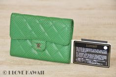 CHANEL Green CC Logo Bi-fold Purse