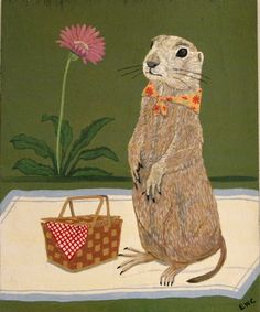 http://www.facebook.com/WakelandCostlowArt  Prairie Dog Picnic original painting acrylic on wood.  Prairie dog looks with anticipation for his beloved...