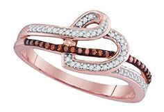 0.2 cttw 10k Rose Gold Cognac Brown Diamond Heart Promise Engagement Ring