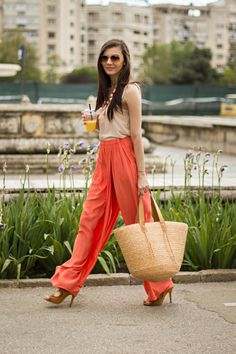 coral wide leg trousers