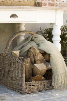 wood basket for porch