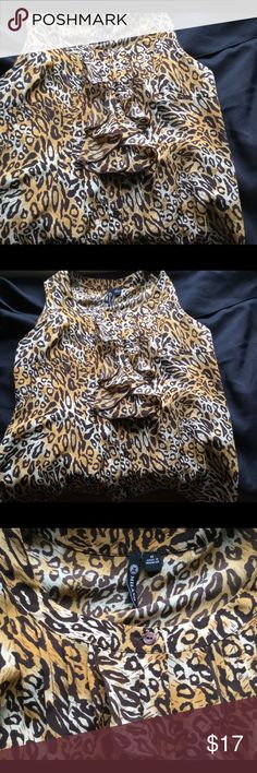 Woman's animal print top by Milano EUC size M Excellent condition, cute top with front ruffled detail Milano Tops