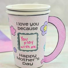 """Supplies Needed: PDF template: flowers or hearts Colored pencils Scissors Glue stick Two paper cups (sometimes called """"party cups"""") Exacto knife (adults only) Markers Coffee Cup Crafts, Coffee Cups, Mothers Day Crafts For Kids, Happy Mothers Day, Paper Cup Crafts, Flower Template, Heart Template, Party Cups, Egg Decorating"""