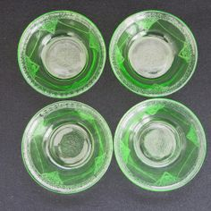 4 Green Depression Glass Georgian Lovebirds Berry Bowls  Federal Glass       http://www.rubylane.com/item/494613-dg538-bg3315/4-Green-Depression-Glass-Georgian