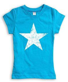 Turquoise & White Star Tee - Toddler & Girls