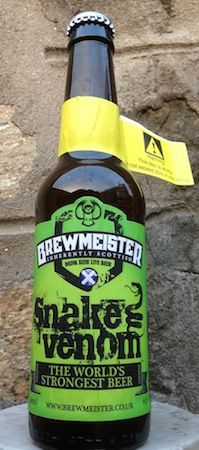 Created by the guys at Brewmeister Brewery, Snake Venom has percent alcohol content by volume and is considered the strongest beer in the world. It might be stronger than whisky but it still tastes like beer Vodka, Tequila, Whisky, Alcohol Facts, Snake Venom, Beers Of The World, Beer Packaging, Alcohol Content, Packaging