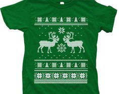 Christmas Ugly Sweater Kids Tshirt Custom Hand Screen Printed American Apparel Crew Neck Available Size 2-12