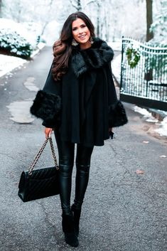 Fashion For Women. Winter outfit. Winter fashion style. H&M turtleneck, Parkhust Black Cape, Lysse Leggings, Jessica Simpsons Booties, J.Crew Earrings, Hypnotic lipstick, Chanel Handbag.