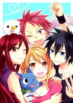 Erza Scarlet, Plue, Happy, Lucy Heartfilia, Natsu Dragneel, and Gray Fullbuster from Fairy Tail