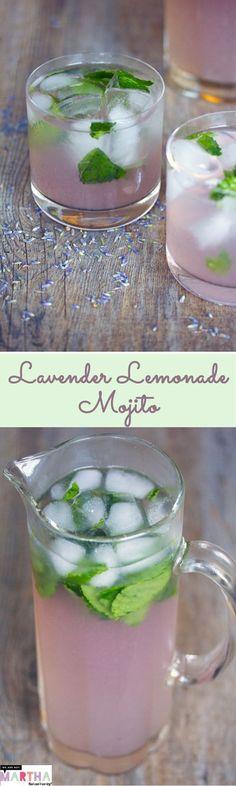 Lavender Lemonade Mojitos -- A pretty and tasty summer cocktail | wearenotmartha.com (alcoholic lemonade drinks baby shower) #mojito