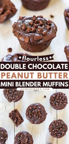 23 reviews · 13 minutes · Vegetarian Gluten free · Serves 17 · No one can resist these mini breakfast muffins! While flourless and gluten-free, these Double Chocolate Peanut Butter Muffins are still moist and decadent. Make a batch of this back to school recipe… Peanut Butter Muffins, Chocolate Peanut Butter, Breakfast Muffins, Mini Muffins, Mini Blender, Mini Muffin Pan, Egg Recipes, Tasty, Baking