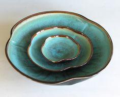 Nesting Bowl Set- Made to Order - Turquoise Black Brown Ceramic Pottery - Set of 3. $100.00, via Etsy.