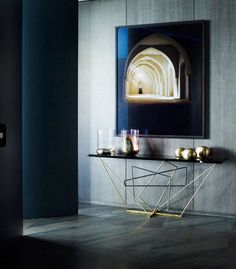 Console + fab accessories + candlelight + oversized artwork = hallway nailed