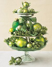 Christmas centerpiece on a tiered tray
