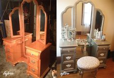 This finish might be cool on jewelry chest  She's Creative: Satin Nickel Refinished Vanity How To