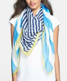 Lightweight and pretty for spring   Burberry Stripe Square Scarf