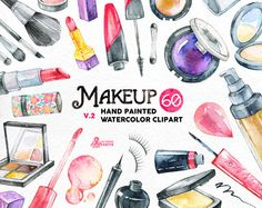 Makeup Watercolor v2. 60 Hand painted clipart, diy elements, fashion, invite, beauty, eyeshadow, lipstick, perfume, nail polish, blog by OctopusArtis on Etsy https://www.etsy.com/listing/236808027/makeup-watercolor-v2-60-hand-painted