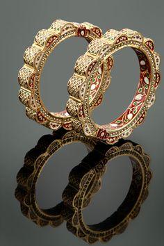Pearls embedded jadau kada with meenakari in gold plating